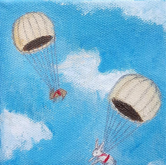 Discover Original Art by Kat Silver | Parachuting Bunnies 3 oil painting | Art for Sale Online at UGallery