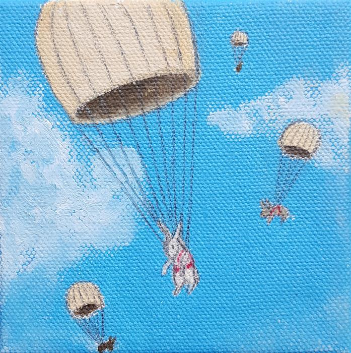 Discover Original Art by Kat Silver | Parachuting Bunnies 4 oil painting | Art for Sale Online at UGallery