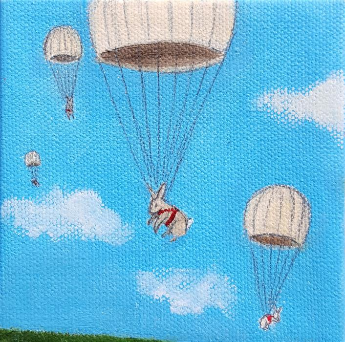 Discover Original Art by Kat Silver | Parachuting Bunnies 5 oil painting | Art for Sale Online at UGallery
