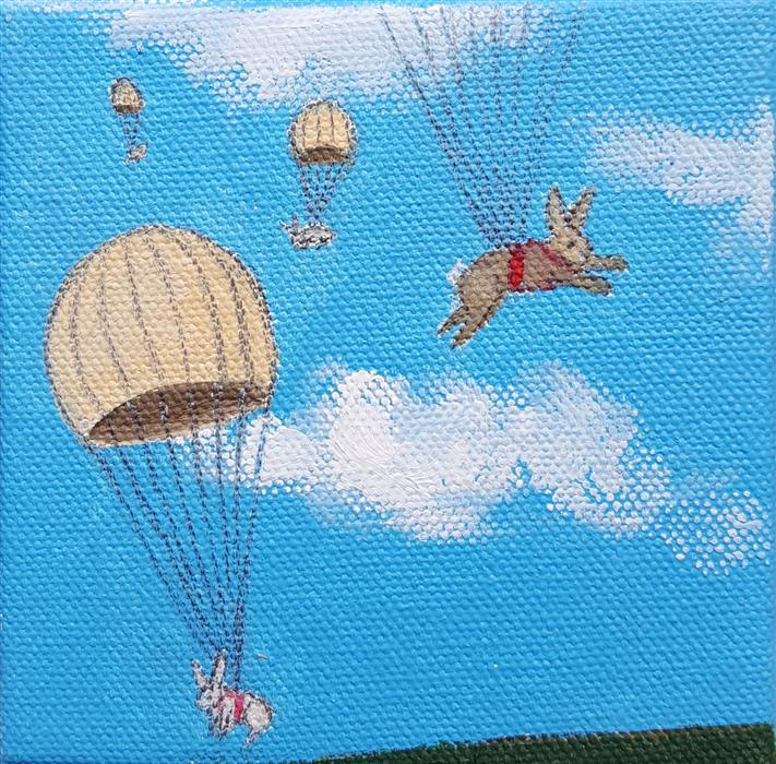 Discover Original Art by Kat Silver | Parachuting Bunnies 6 oil painting | Art for Sale Online at UGallery
