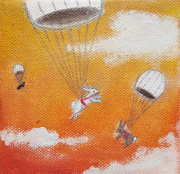 Discover Original Art by Kat Silver | Parachuting Bunnies 7 oil painting | Art for Sale Online at UGallery