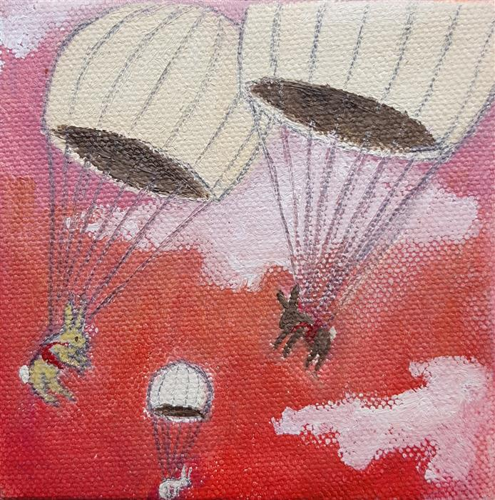 Discover Original Art by Kat Silver | Parachuting Bunnies 8 oil painting | Art for Sale Online at UGallery