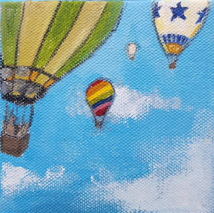 Discover Original Art by Kat Silver | Hot Air Balloon Bunnies 1 oil painting | Art for Sale Online at UGallery