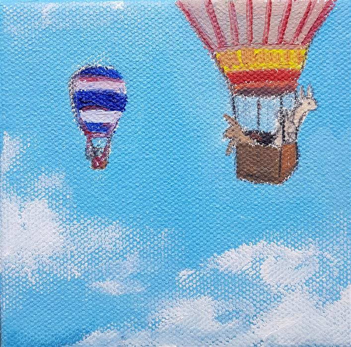 Discover Original Art by Kat Silver | Hot Air Balloon Bunnies 2 oil painting | Art for Sale Online at UGallery