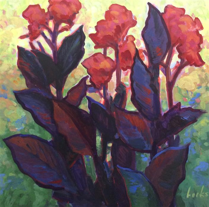 Discover Original Art by David Forks | Red Cannas acrylic painting | Art for Sale Online at UGallery