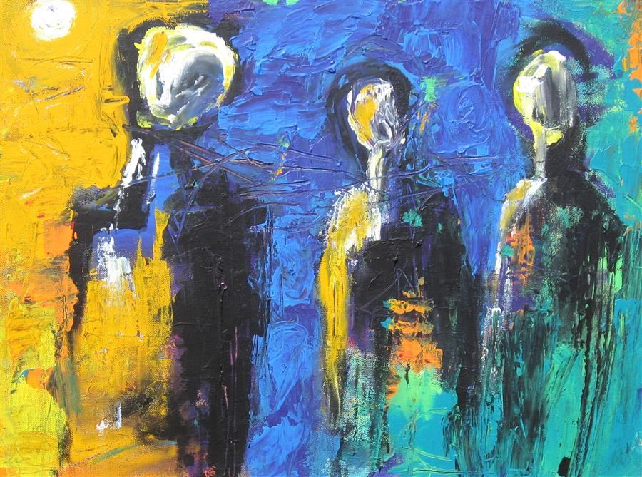 Discover Original Art by Ron Klotchman | Unlikely Trio acrylic painting | Art for Sale Online at UGallery
