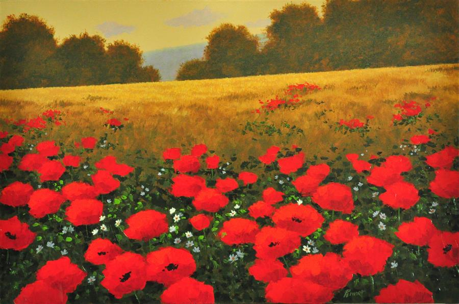 Discover Original Art by Robert Pennor | Red Poppies in a Field acrylic painting | Art for Sale Online at UGallery