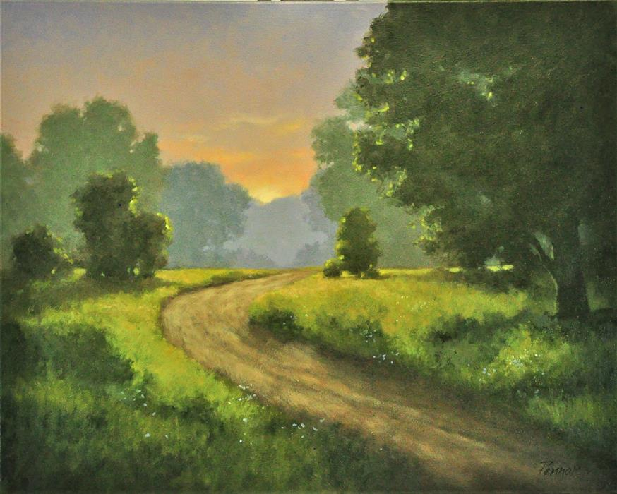 Discover Original Art by Robert Pennor | Sunset Path oil painting | Art for Sale Online at UGallery