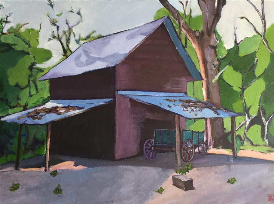 Discover Original Art by Laura (Yi Zhen) Chen | Tobacco Barn acrylic painting | Art for Sale Online at UGallery
