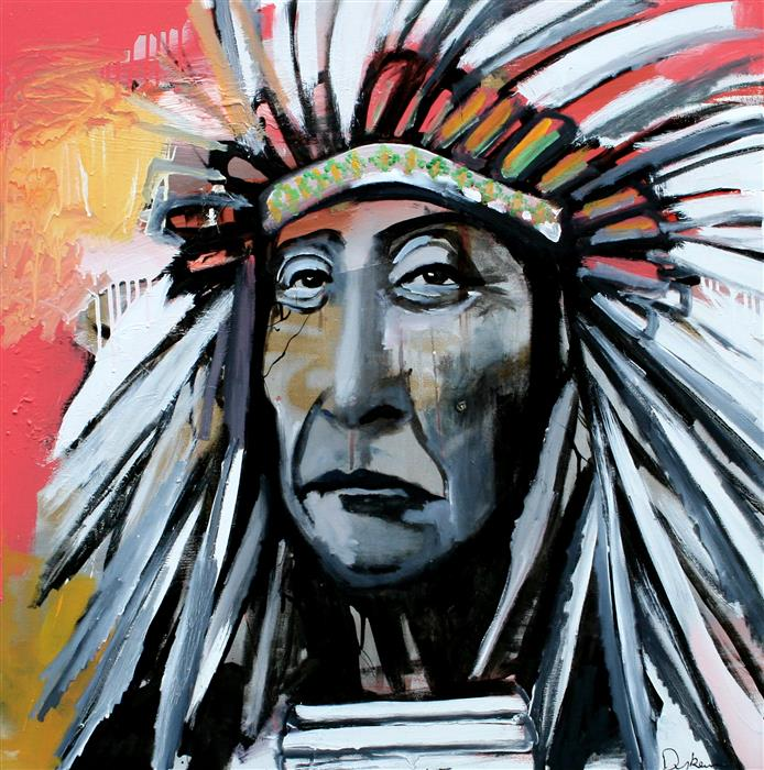 Discover Original Art by Scott Dykema | A Chief With Pink Background mixed media artwork | Art for Sale Online at UGallery