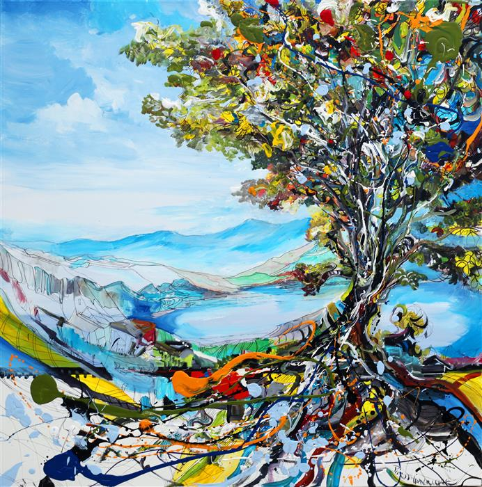Discover Original Art by Piero Manrique | Festivity Tree acrylic painting | Art for Sale Online at UGallery