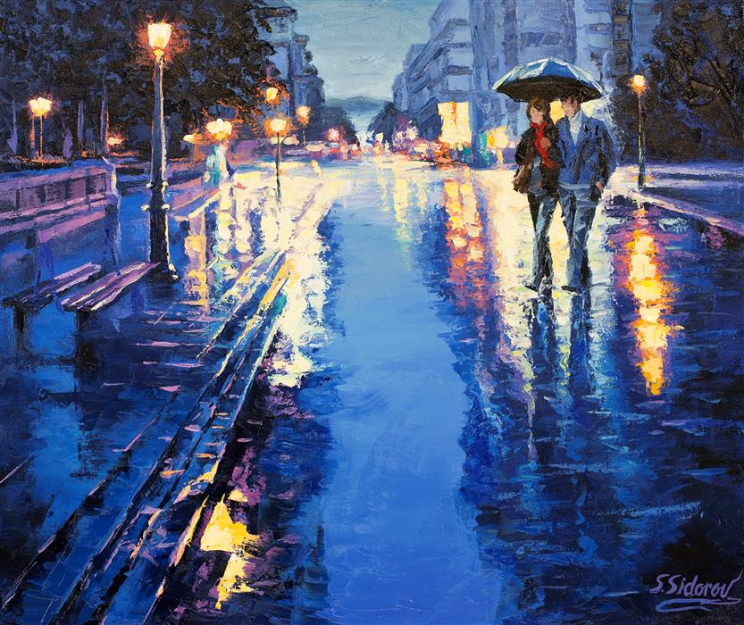 Discover Original Art by Stanislav Sidorov | Reflection: Romantic Night, Street in Europe oil painting | Art for Sale Online at UGallery