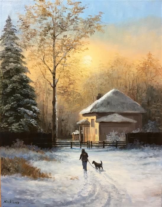 Discover Original Art by Nikolay Rizhankov | Winter Evening oil painting | Art for Sale Online at UGallery
