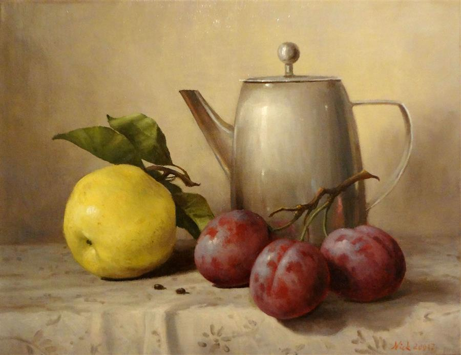 Discover Original Art by Nikolay Rizhankov | Apple oil painting | Art for Sale Online at UGallery