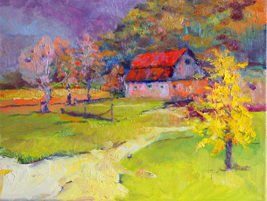 Discover Original Art by Suren Nersisyan | Fall Landscape, Farm in Oregon oil painting | Art for Sale Online at UGallery
