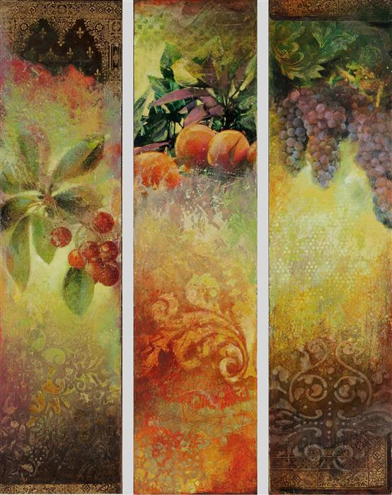 Discover Original Art by Darlene McElroy | Ripe (Triptych) mixed media artwork | Art for Sale Online at UGallery