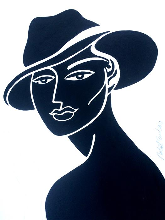 Discover Original Art by Robert Erod | Lady Fedora acrylic painting | Art for Sale Online at UGallery