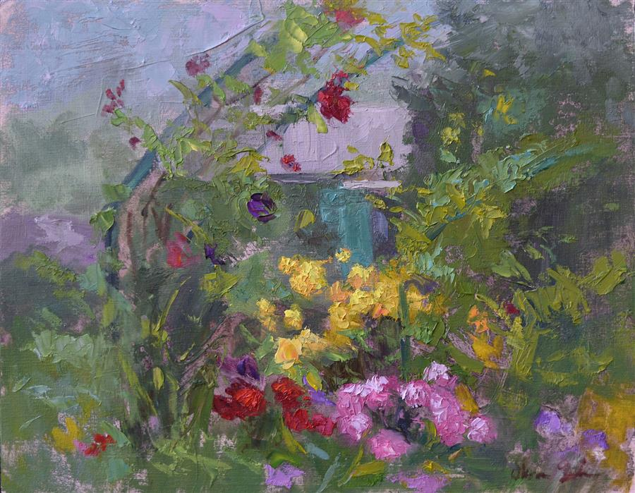 Discover Original Art by Oksana Johnson | Monet's Garden oil painting | Art for Sale Online at UGallery
