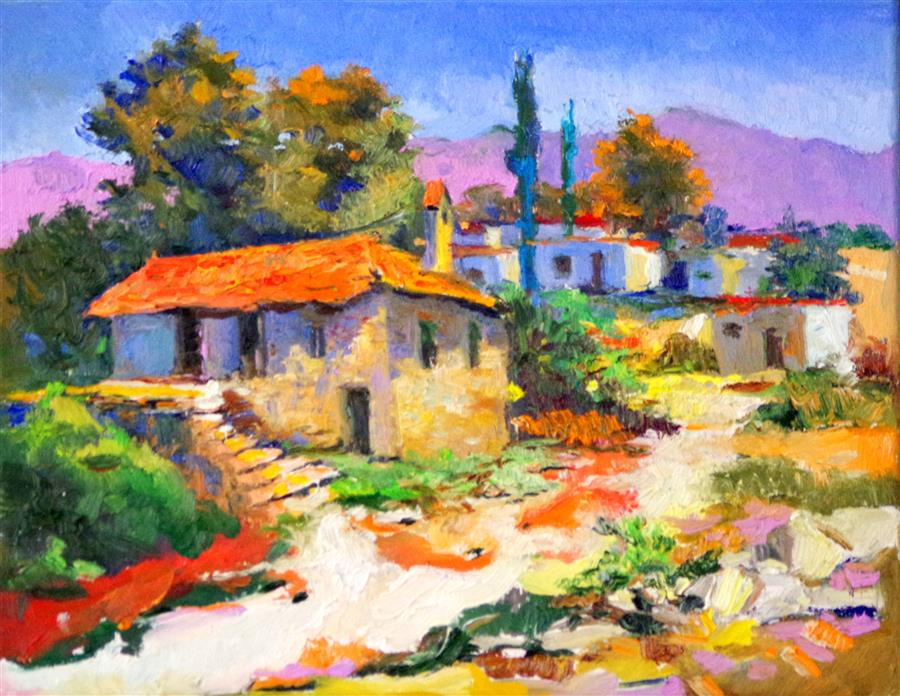 Discover Original Art by Suren Nersisyan | Summer, Village in Italy oil painting | Art for Sale Online at UGallery