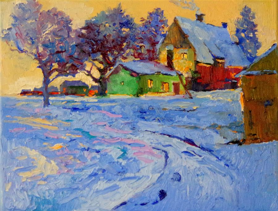 Discover Original Art by Suren Nersisyan | Winter Evening, Village Landscape oil painting | Art for Sale Online at UGallery