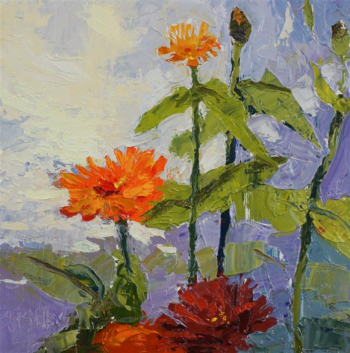 Discover Original Art by Ann  McMillan | Zinnias oil painting | Art for Sale Online at UGallery