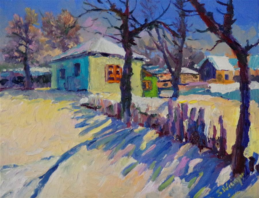 Discover Original Art by Suren Nersisyan | Sunny Winter Day in the Village oil painting | Art for Sale Online at UGallery