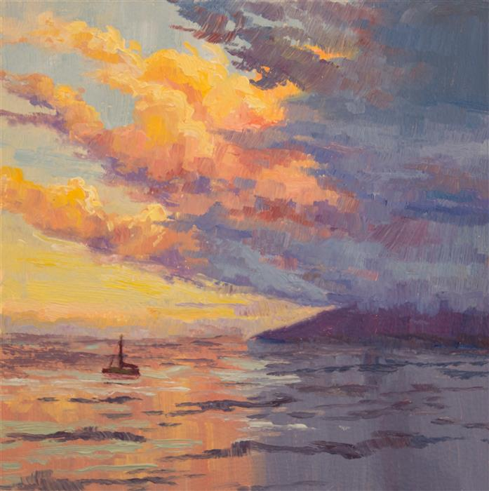 Discover Original Art by Karen E Lewis | Sunset Sail oil painting | Art for Sale Online at UGallery