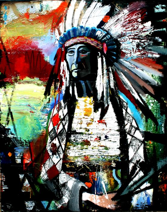 Discover Original Art by Scott Dykema | Chief With Tools mixed media artwork | Art for Sale Online at UGallery