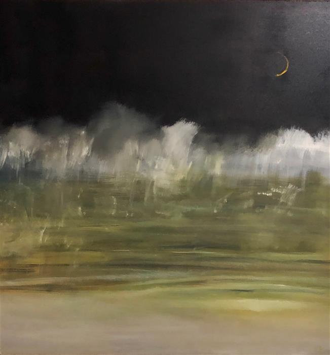 Discover Original Art by Patricia Fabian | Misty Moon oil painting | Art for Sale Online at UGallery
