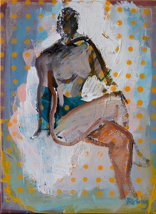 Discover Original Art by Stephen Poling | Figure with Yellow Dots acrylic painting | Art for Sale Online at UGallery