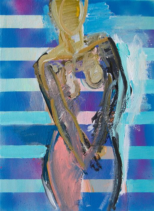 Discover Original Art by Stephen Poling | Figure with Stripes 2 acrylic painting | Art for Sale Online at UGallery