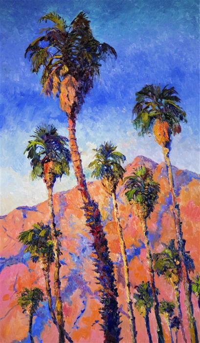 Discover Original Art by Suren Nersisyan | Desert Palms, Palm Springs, Sunny Day oil painting | Art for Sale Online at UGallery