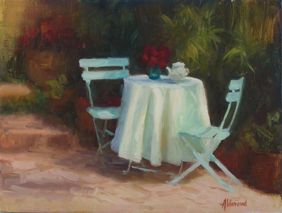 Discover Original Art by Sherri Aldawood | Garden Tea oil painting | Art for Sale Online at UGallery