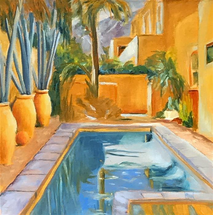 Discover Original Art by Mandy Main | Palm Springs Pool II oil painting | Art for Sale Online at UGallery