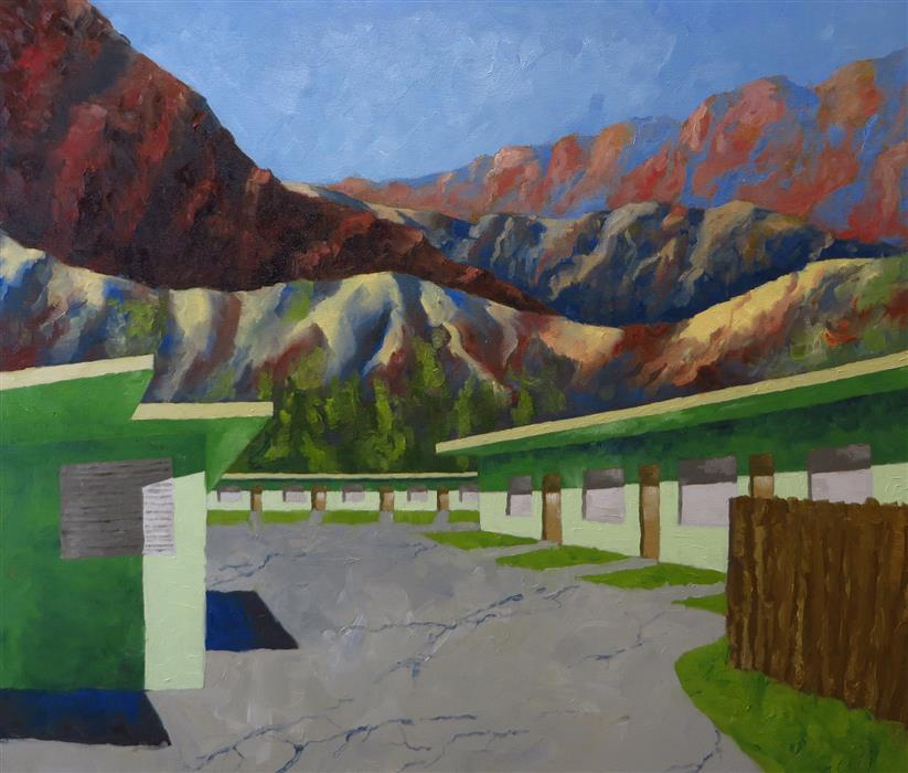 Discover Original Art by Mitchell Freifeld | Green Motel oil painting | Art for Sale Online at UGallery