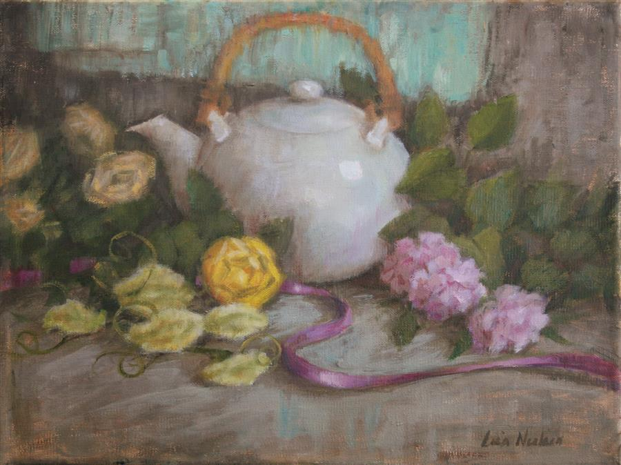 Discover Original Art by Lisa Nielsen | Tea and Posies oil painting | Art for Sale Online at UGallery