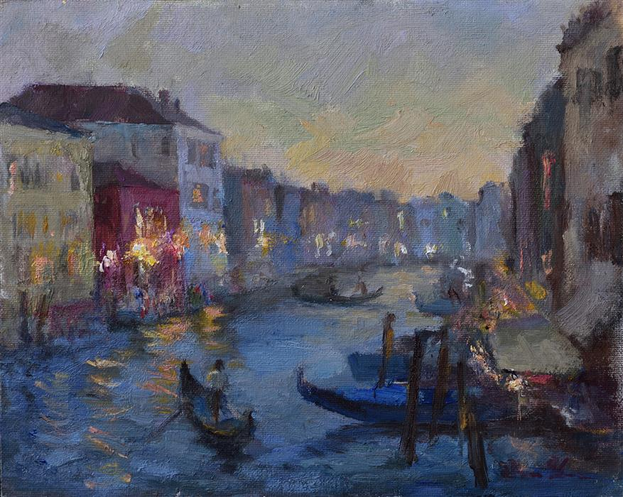 Discover Original Art by Oksana Johnson | A Gondolier oil painting | Art for Sale Online at UGallery