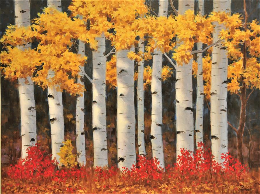 Discover Original Art by Robert Pennor | Golden Aspen acrylic painting | Art for Sale Online at UGallery