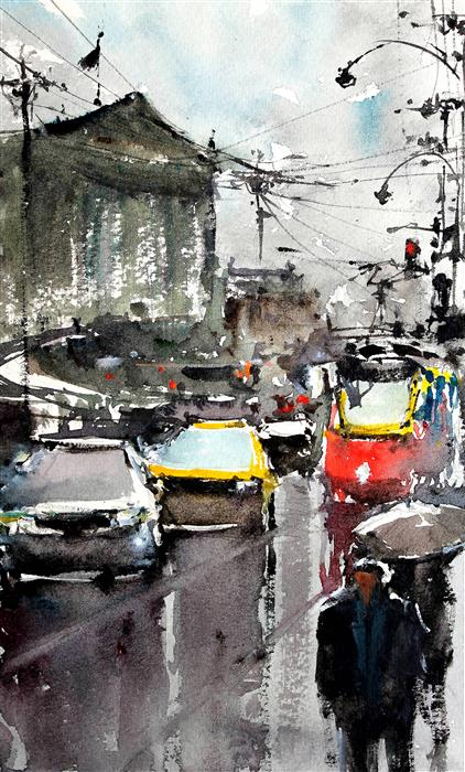Discover Original Art by Maximilian Damico | Crowded Winter Vienna watercolor painting | Art for Sale Online at UGallery