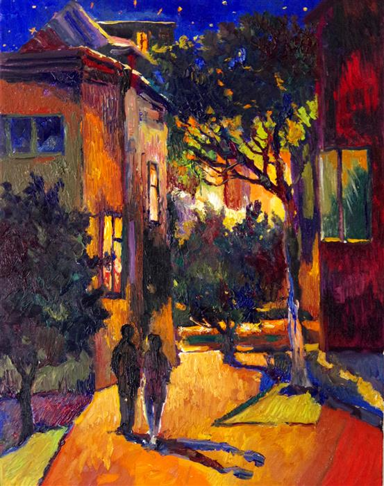 Discover Original Art by Suren Nersisyan | Night Walk in Suburbs oil painting | Art for Sale Online at UGallery