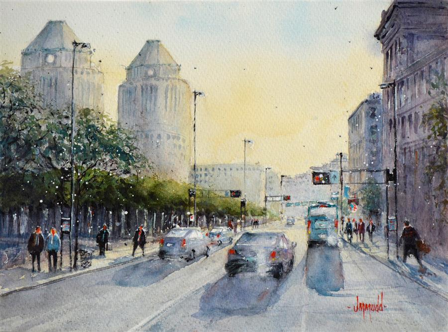 Discover Original Art by Judy Mudd | East Fifth watercolor painting | Art for Sale Online at UGallery