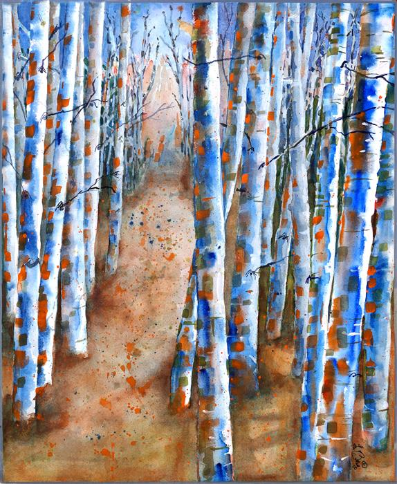 Discover Original Art by Nancy Muren | Aspen Forest watercolor painting | Art for Sale Online at UGallery