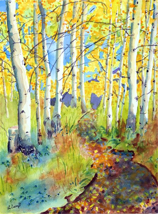 Discover Original Art by Nancy Muren | Aspen Hike  watercolor painting | Art for Sale Online at UGallery