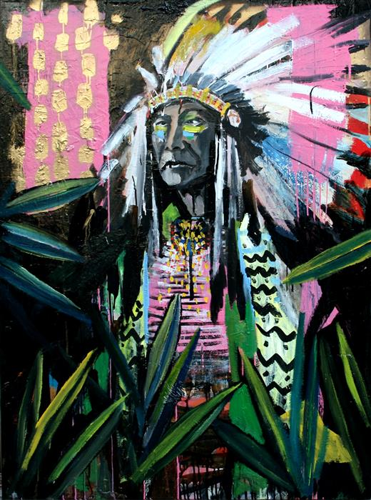 Discover Original Art by Scott Dykema | A Chief Surrounded by All This Beauty mixed media artwork | Art for Sale Online at UGallery