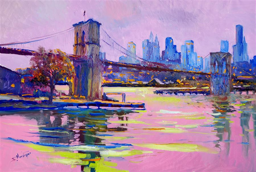 Discover Original Art by Suren Nersisyan | New York, Brooklyn Bridge (Pink Evening) oil painting | Art for Sale Online at UGallery