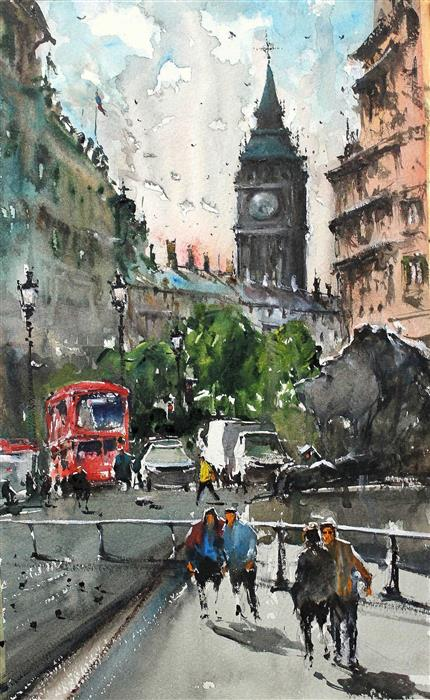 Discover Original Art by Maximilian Damico | Rush in Trafalgar watercolor painting | Art for Sale Online at UGallery
