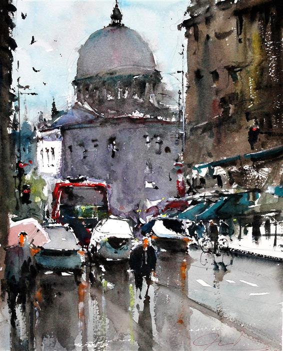 Discover Original Art by Maximilian Damico | St Paul's Dome watercolor painting | Art for Sale Online at UGallery