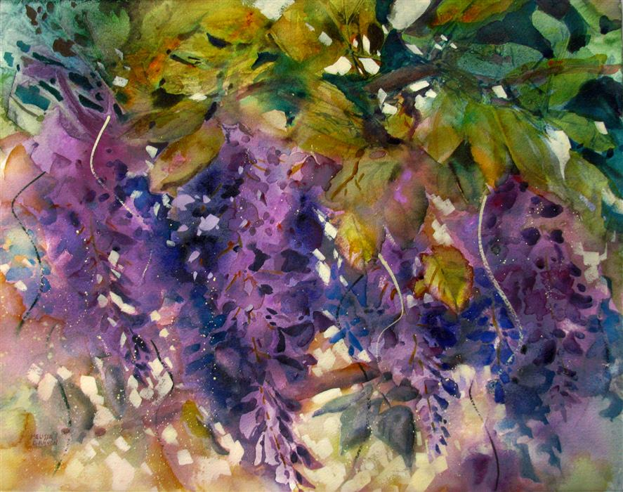 Discover Original Art by Melissa Gannon | Mysteries of Purple & Green watercolor painting | Art for Sale Online at UGallery
