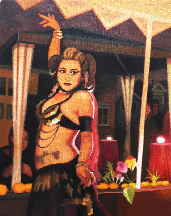 Discover Original Art by Hadley Northrop | Belly Dancer at Day of the Dead oil painting | Art for Sale Online at UGallery