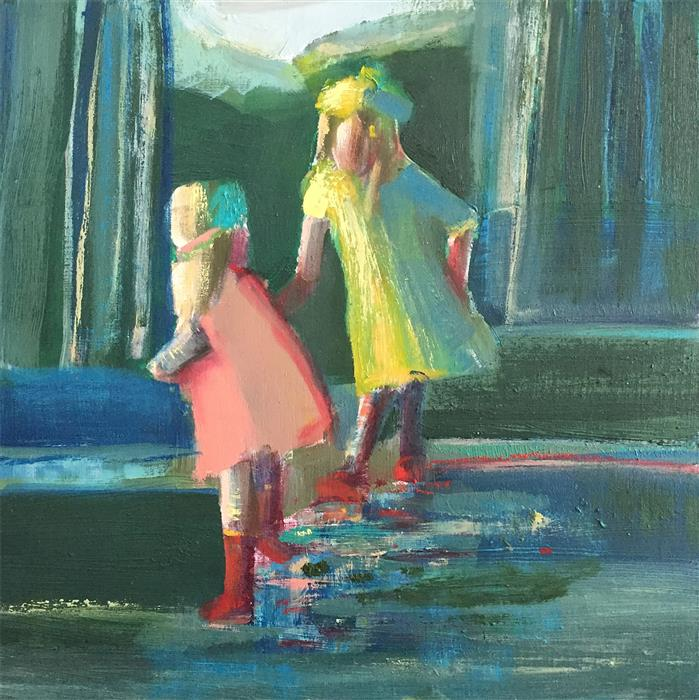 Discover Original Art by Shilo Ratner | Splashing In Puddles oil painting | Art for Sale Online at UGallery